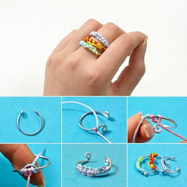 How-to-Make-Easy-Aluminum-Wire-Ring-with-Colorful-Nylon-Threads