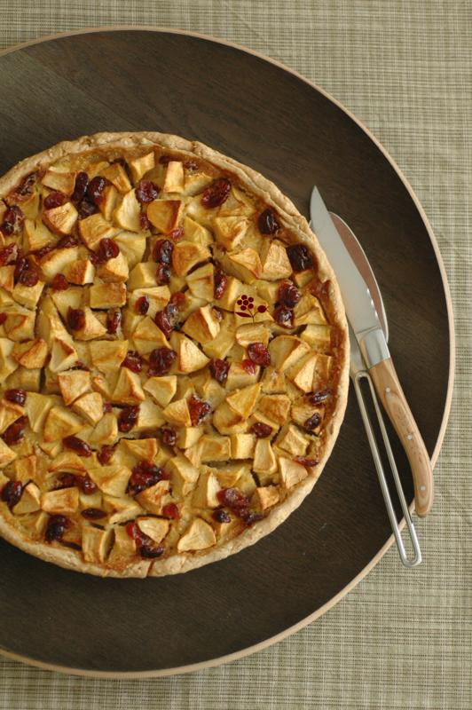 Tarte rustique aux pommes & canneberges séchées_1