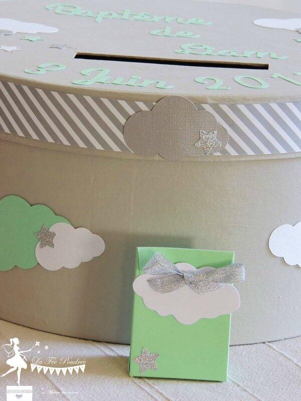 boite dragees bapteme theme etoile nuage baby shower vert mint gris argent