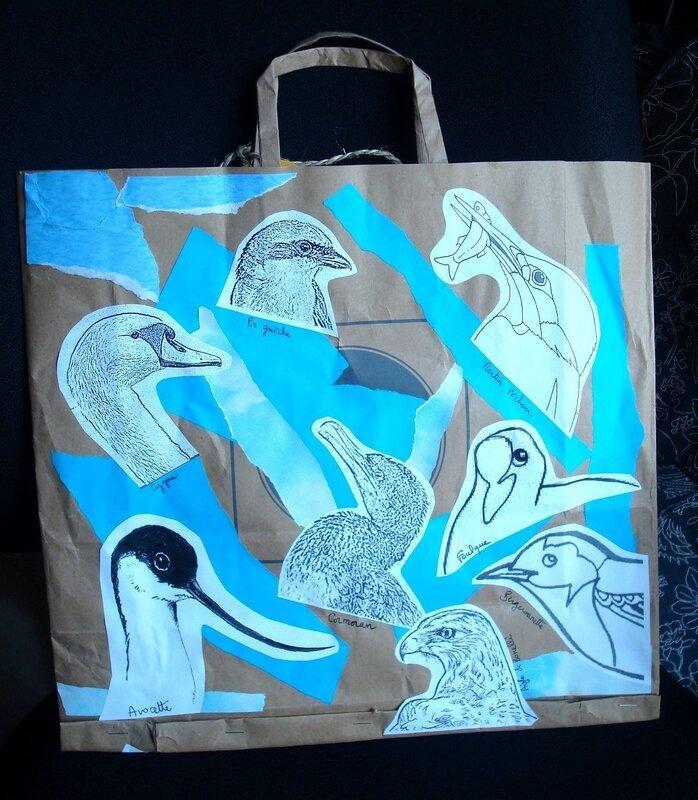 Sac en papier - décor oiseaux méditerranéens 2