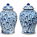 A pair of blue and white 'squirrels and grapes' jars and covers, kangxi period (1662-1722)
