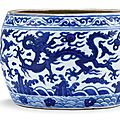 A blue and white 'dragon' jar, Mark and period of Wanli (1573-1619)