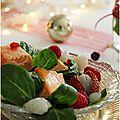 Salade mâche, orange,litchis, saumon....une belle entrée!