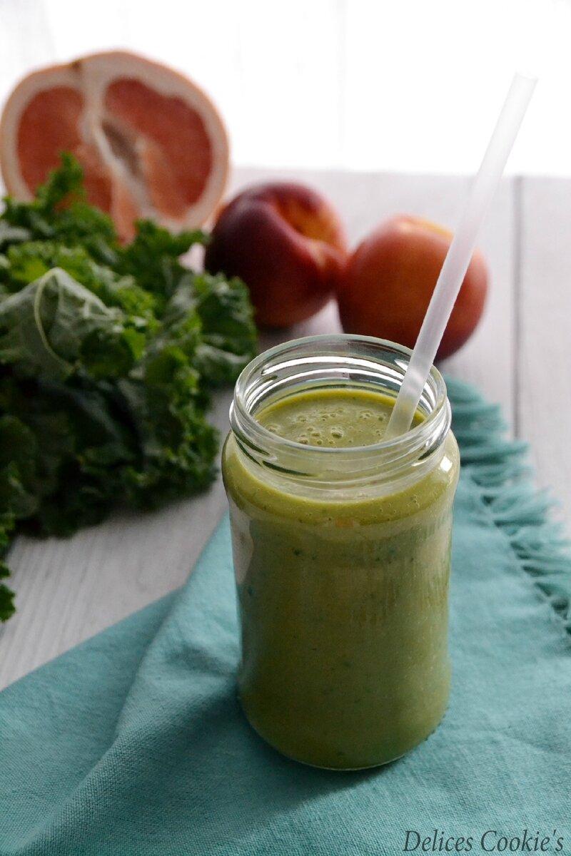 smoothie kale nectarines pamplemousse soja IG bas vegan