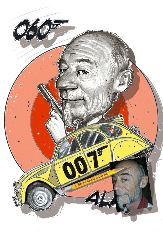 2cv 007 caricature james bond