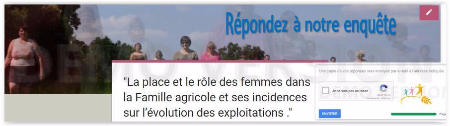 """Pour les agricultrices & femmes d'agriculteurs Enquête """"La Famille agricole"""". On compte sur vous A suivre 20 octobre Symposium."""