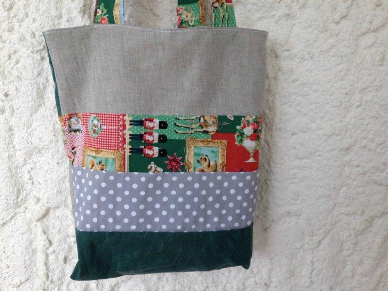 tote bag reversible cretonne biche noel et patchwork tissus recup modele funky sunday 3