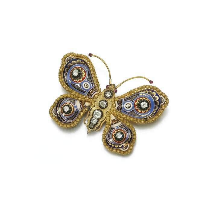 Enamel and diamond brooch, late 18th century and later