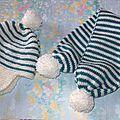 bonnet et écharpe bébé taille naissance modèle PERUVIEN prix 10€