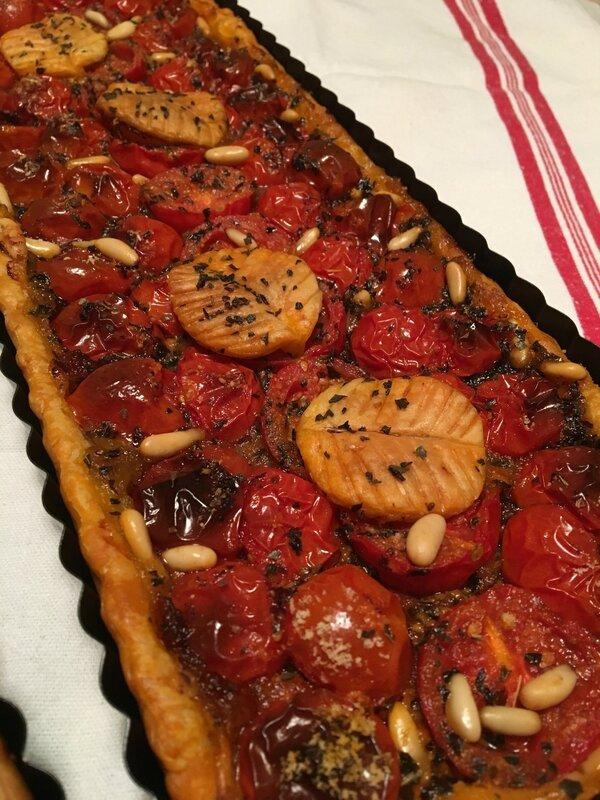 tarte poires amandine et tomates cerises au pesto (8)