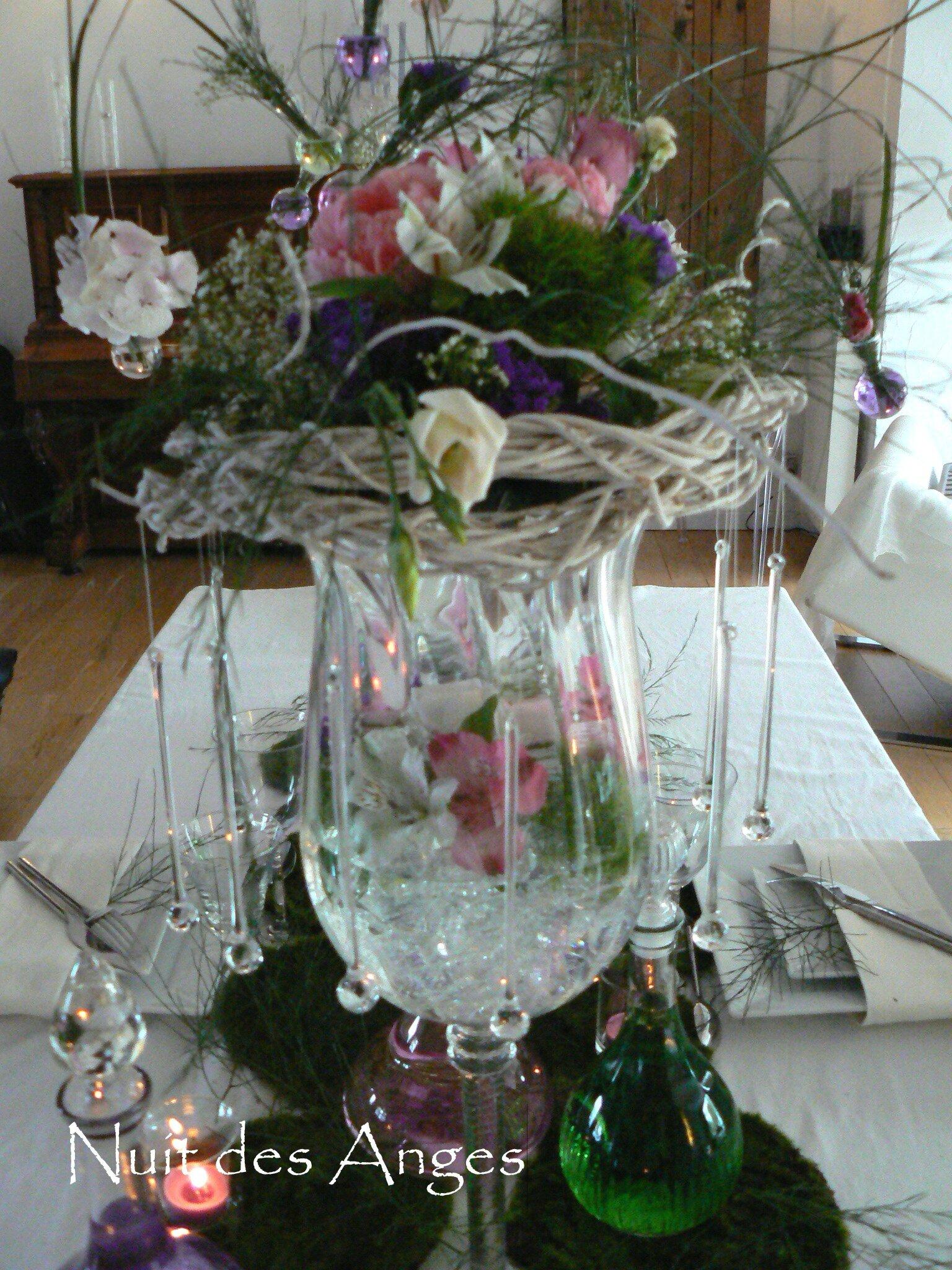 Nuit des anges décoratrice de mariage décoration de table rose et vert 009