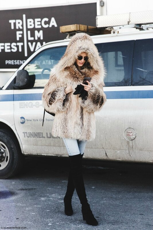 New_York_Fashion_Week-Fall_Winter_2015-Street_Style-NYFW-Fur_Coat-Over_The_Knee_Boots