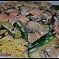 Cappellini saumon courgette champignon