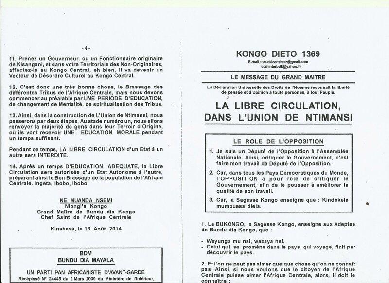 LA LIBRE CIRCULATION DANS L'UNION DE NTIMANSI a
