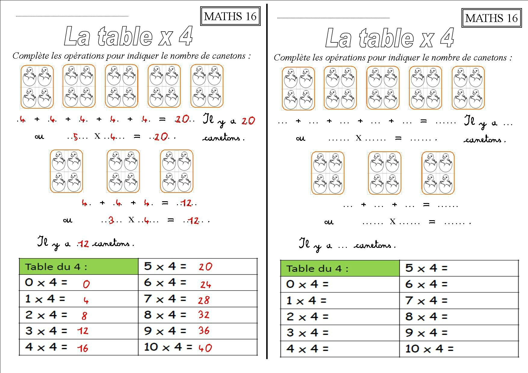Exercice tables de multiplication ce1 exercices for Apprendre multiplication ce2