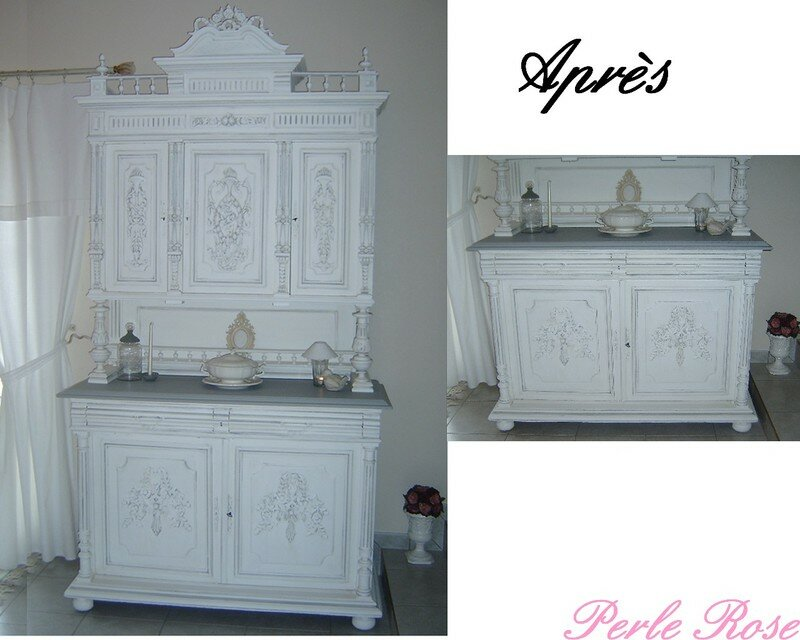 buffet henri ii en cours de transformation perle rose. Black Bedroom Furniture Sets. Home Design Ideas