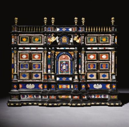 An_Italian_gilt_bronze_pietre_dure_and_marble_mounted_ebony_and_ebonised_cabinet__Roman_