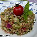 Tartare de concombre/tomate et oignon rouge