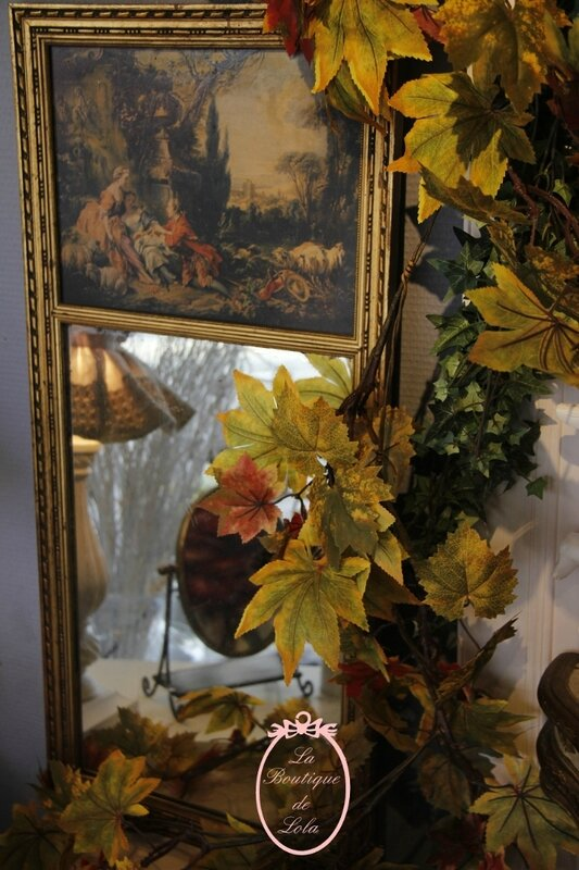 Miroir trumeau ancien, lampe, abat-jour, miroir à poser