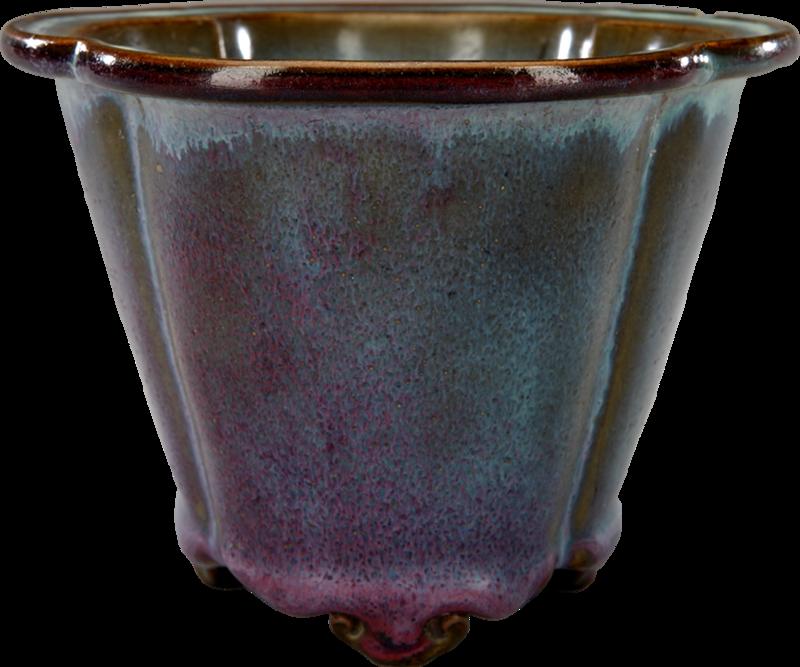 Pot à fleurs en céramique de Junzhou à glaçure pourpre, en forme de pommier à bouquets (Malus spectabilis), Dynastie Song