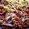 Pâtes bolognaise sans viande mais aux proteines de soja