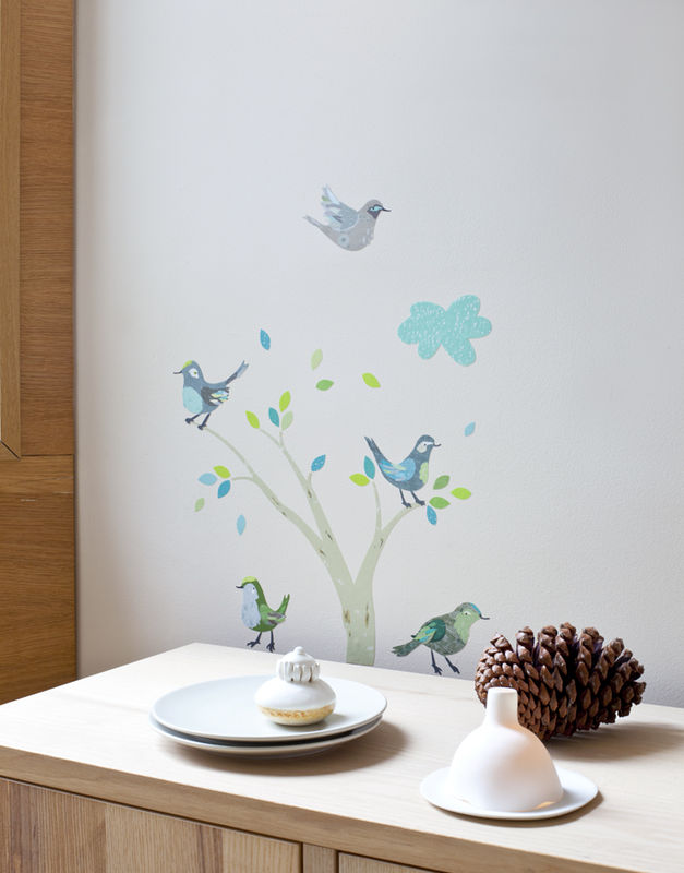 Sticker chambre gar on les oiseaux verts abigail brown for Collection chambre bebe garcon