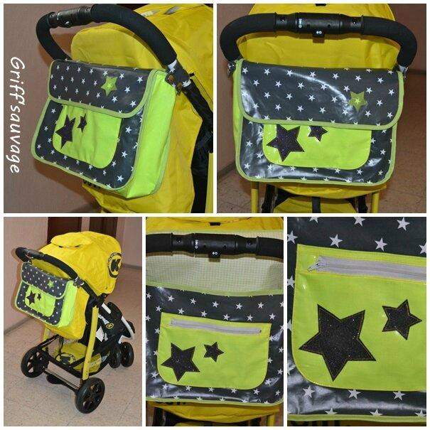 sac poussette jaune et étoiles2