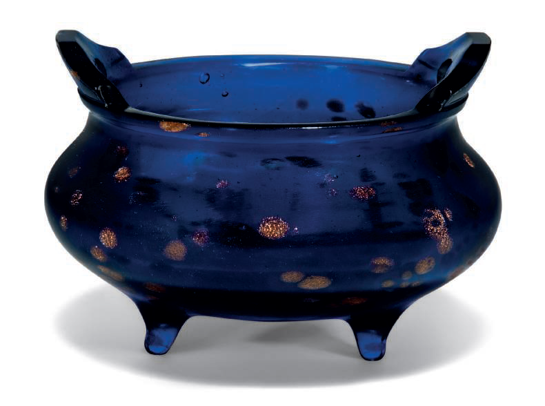 A gold-splashed blue glass tripod censer, 18th-19th century