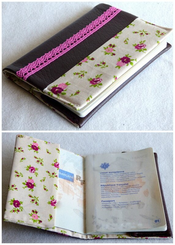 protege passeport simili chocolat, fleurs et dentelle