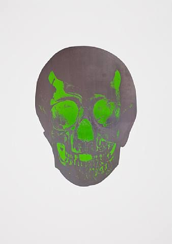 Damien Hirst, The Dead Gunmetal Lime Green Skull , 2009