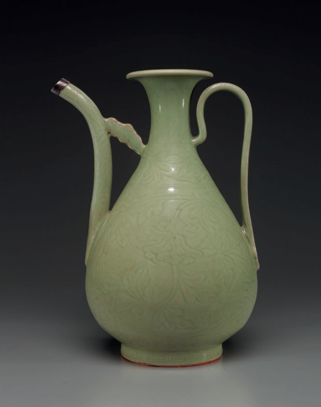 A carved Longquan celadon ewer, Early Ming dynasty, late 14th-early 15th century