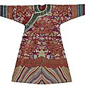 A brocade-woven red silk gauze summer dragon robe, late qing-republic period