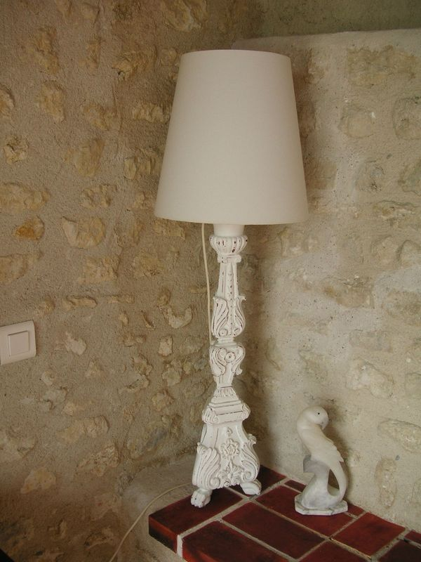 Lampe de table ancien pic cierge lectrifi et patin for Lampadaire shabby