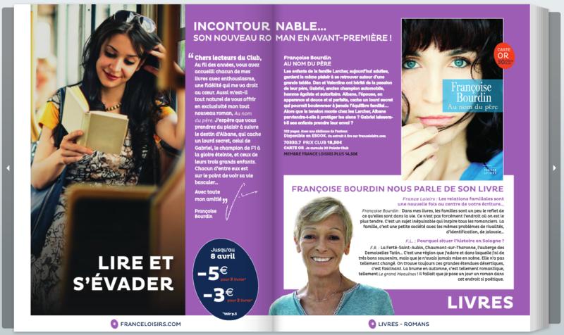 FRANCOISE BOURDIN - AU NOM DU PERE - AVANT PREMIERE FRANCE LOISIRS - CATALOGUE PRINTEMPS 2015