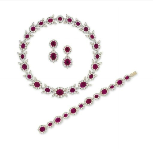 A suite of ruby and diamond jewellery, by Gimel