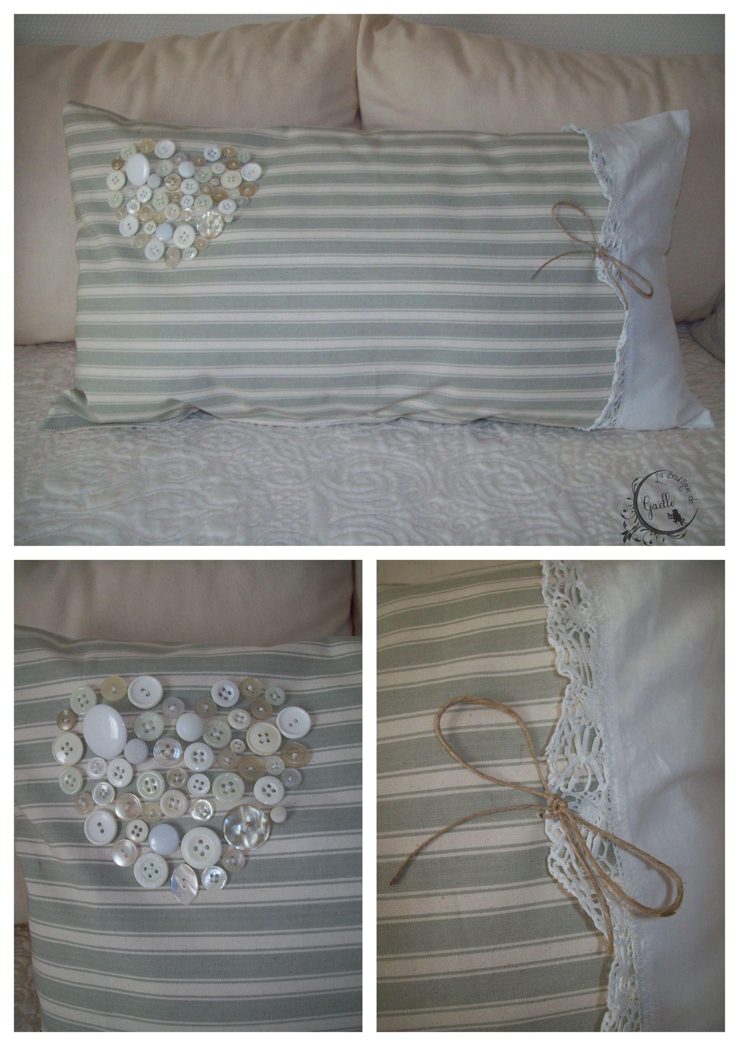 Coussin romantique toile à matelas dentelleet jolis boutons de COUSSINS le