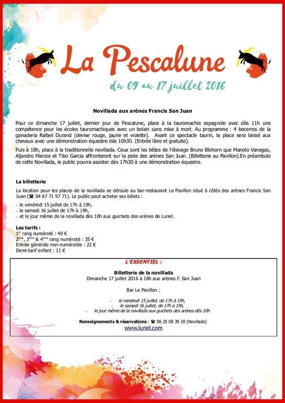 Com2presse - La Pescalune 2016--Billetterie Novillada