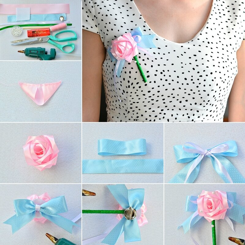 1080-Pandahall-Tutorial-on-How-to-Make-Flower-Ribbon-Brooch-for-Wedding