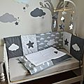 décoration chambre bébé fille garçon nuage étoiles gris foncé gris clair blanc