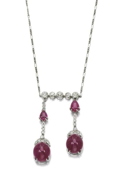 Ruby and diamond pendent necklace, early 20th century