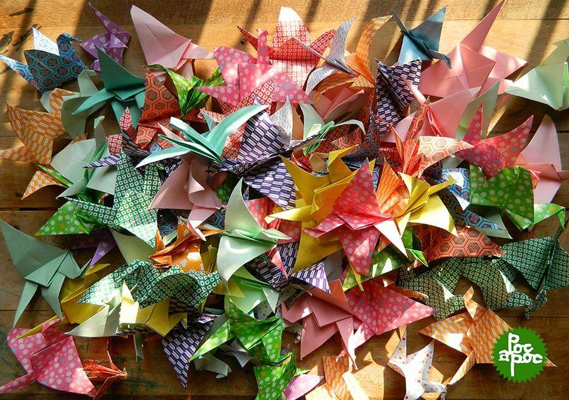 origami,grue,papier japonais,poc a poc,decoration1 blog