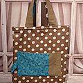 18. sac pliable taupe et bleu - ouvert