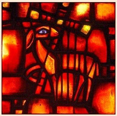 Agneau, vitrail d'Eric de Taizé