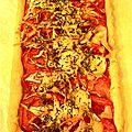 Tarte aux tomates et aux oignons à la moutarde et à l'emmental