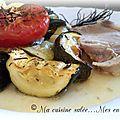 Rôti de porc et ses courgettes-pommes de terre-tomates