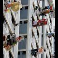 Singapour, linge séchant aux fenêtres