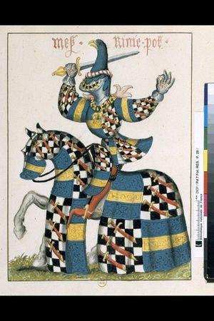Portrait équestre de chevalier armé de toutes pièces de tournoi