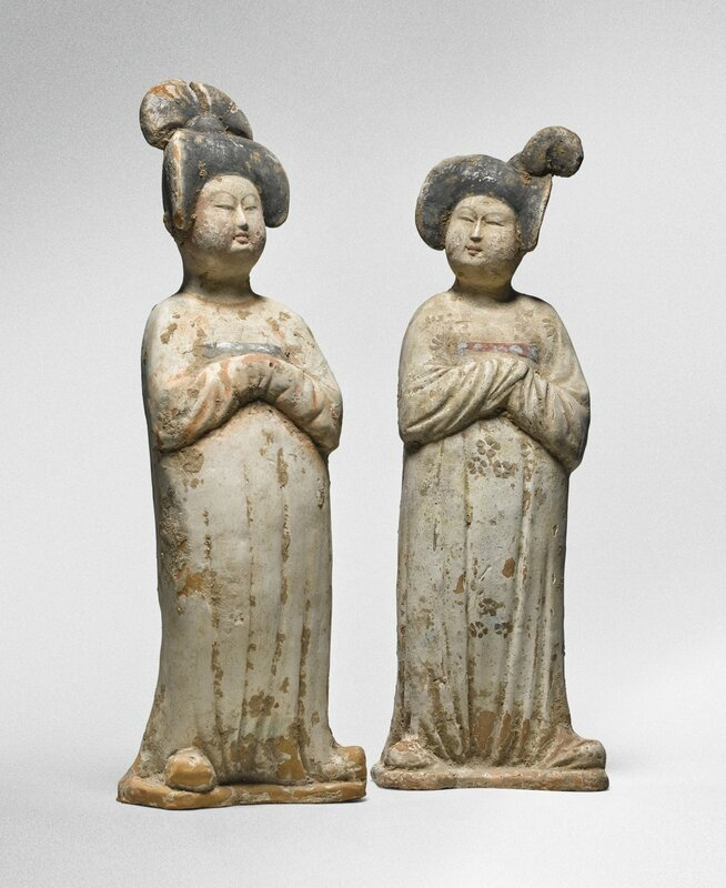 A pair of painted pottery figures of ladies, Tang dynasty