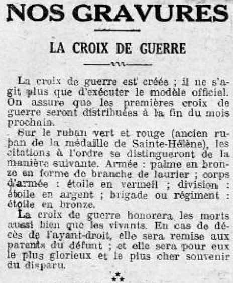 Le Petit Journal Croix de guerre1