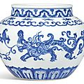 An exceptional blue and white 'makara' jar, mark and period of xuande (1426-1435)